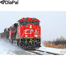"DIAPAI 5D DIY Diamond Painting 100% Full Square/Round Drill ""Train snow scenery"" Diamond Embroidery Cross Stitch 3D Decor A21654"