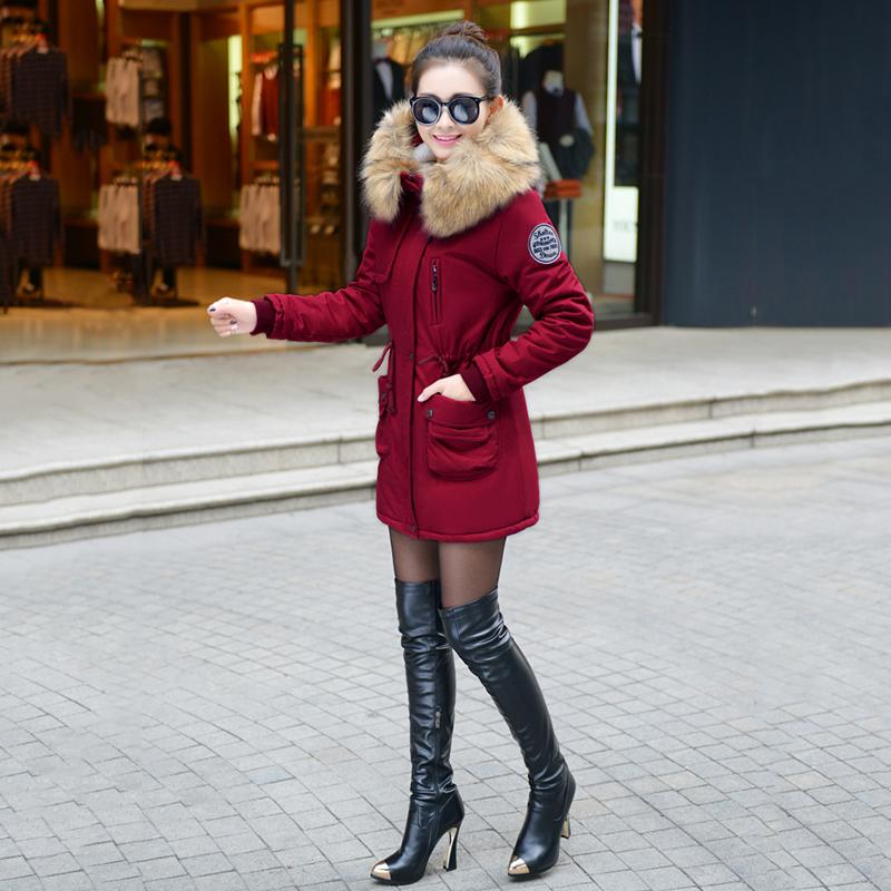 Adjustable Waist Women Parkas Big Pockets Fur Hooded Long Coats Female Outwear Cotton Warm Winter Ladies Jackets Coat MDEW541 12