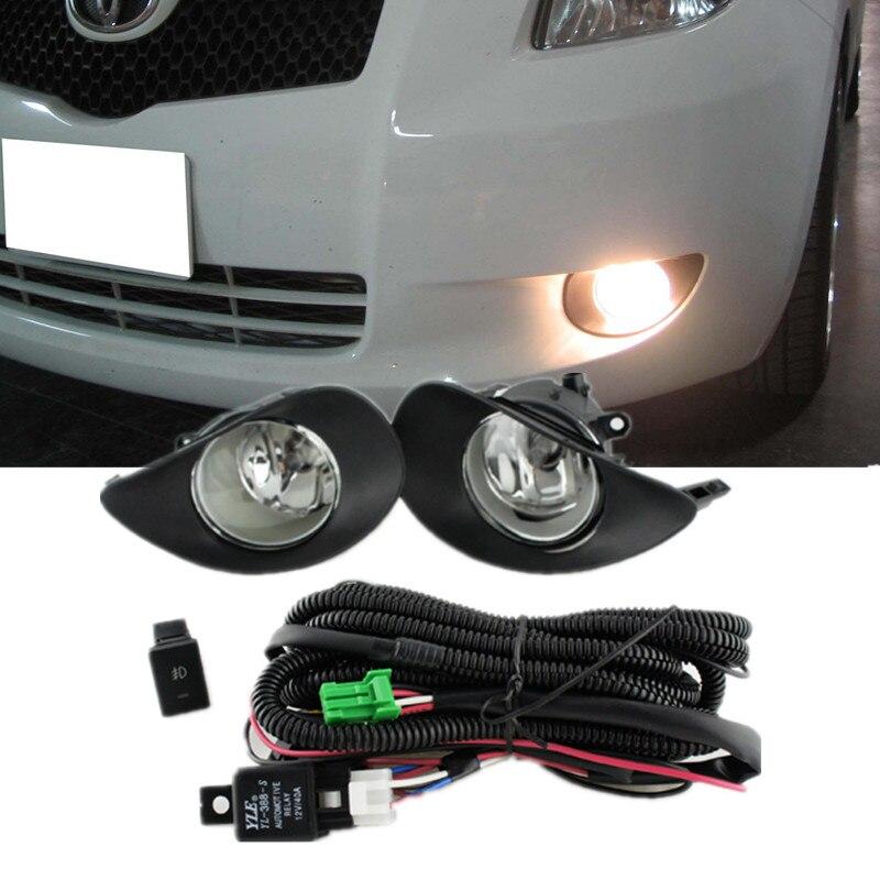 For 2006-2008 Toyota Yaris 2Door 3Door Hatchback Clear Lens Fog Lights Cover Kit