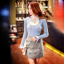 dabuwawwa sweater slim 2016 new korean fashion knitted sweaters women pink doll
