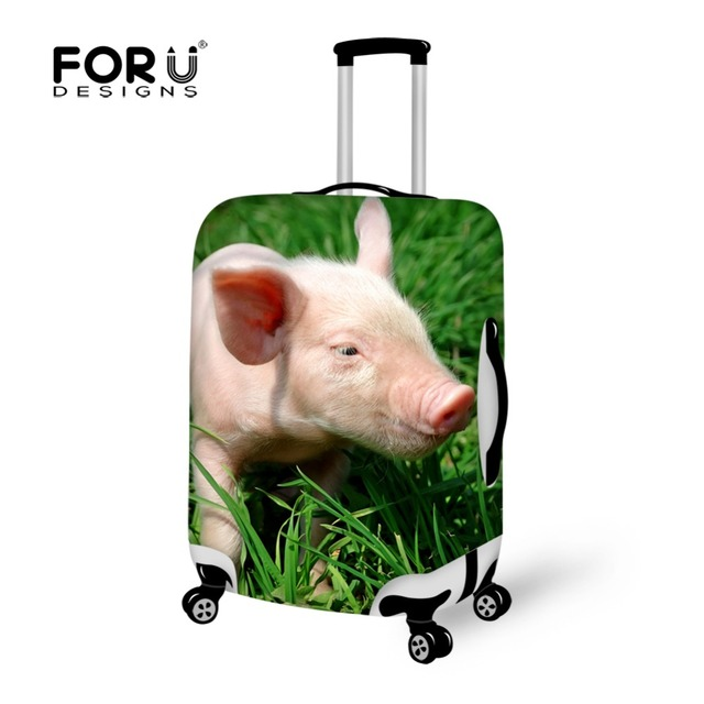 FORUDESIGNS Animal Pig Print elastic trolley luggage protective covers Spandex Luggage Covers Suitcase for 18-28 inch