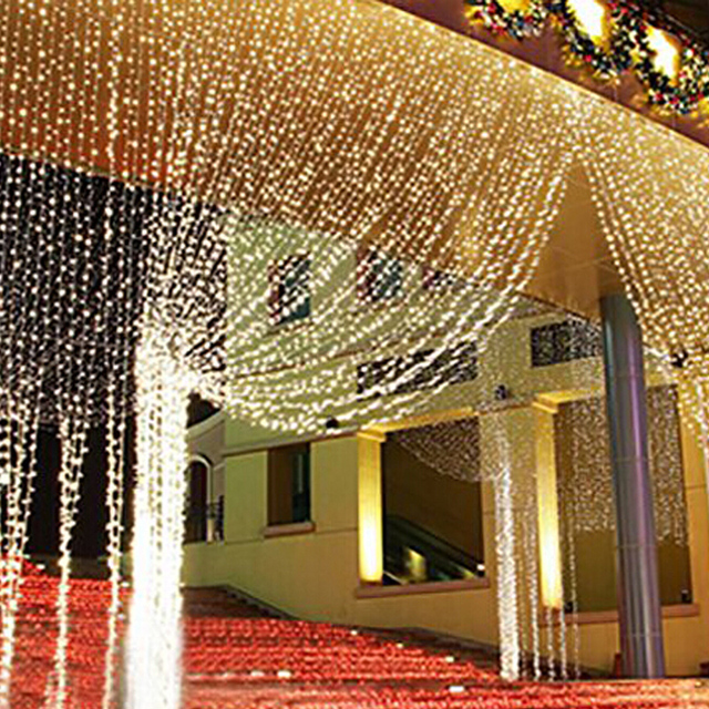 8x3m 8x4m Christmas Lights Outdoor Indoor Garlands Waterfall Led Curtain String Fairy
