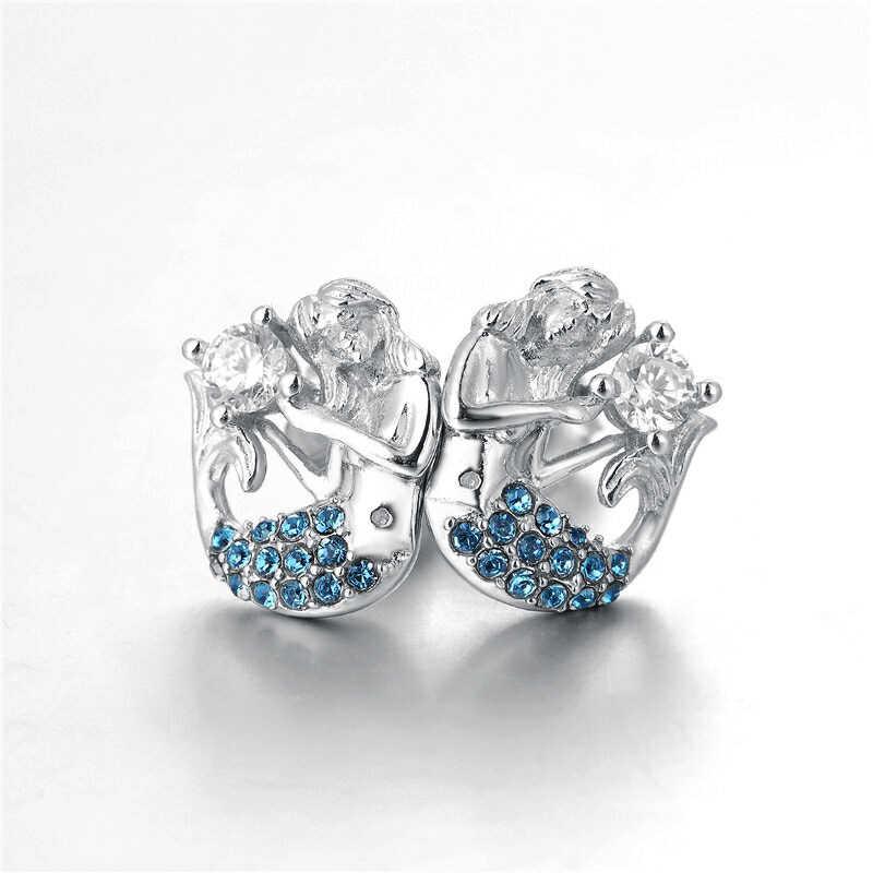 925 стерлингового серебра женские серьги Роскошные красивой русалки, клипсы, украшенные синими кристаллами Стразы для женщин, подарок на день рождения, ER1038