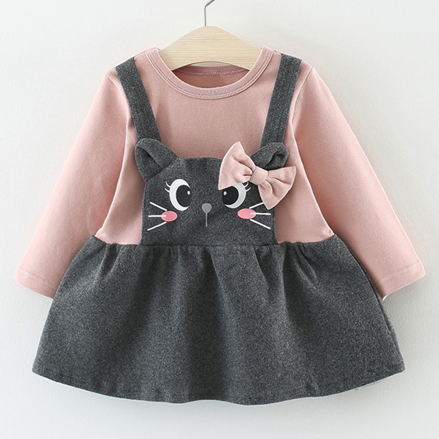ccfec1d01 Baby Girl Winter Clothes Cotton Cat Bowknot Baby Dresses Autumn Cute ...