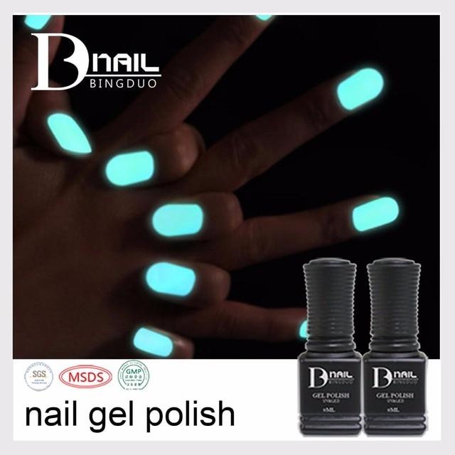 6 pcs/lot BD Soak Off Nail Art Polish Gel Glow in the Dark UV Gel ...