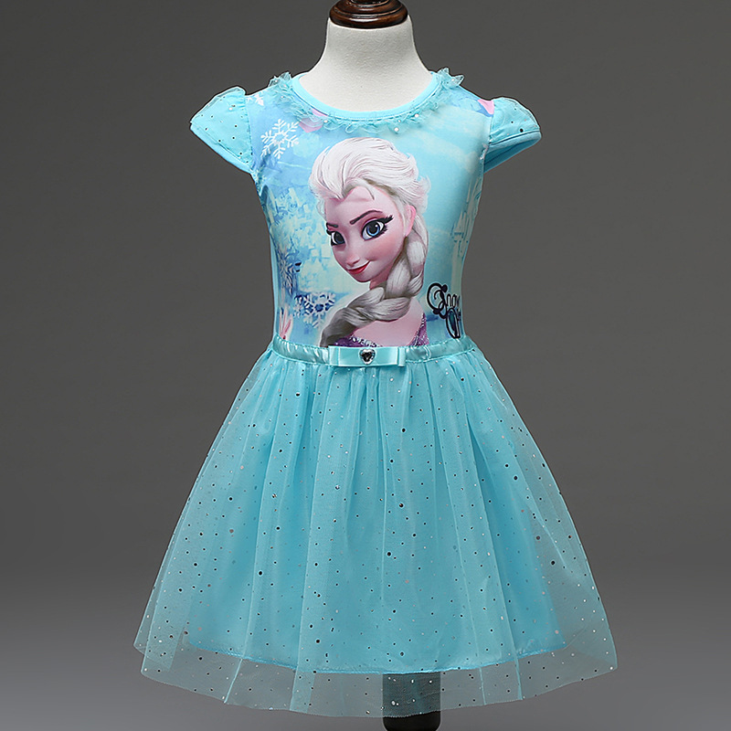 Girl Dress Summer Brand Toddler Girls Clothes Lace Sequins Princess Anna Elsa Dress Snow Queen Halloween Party Role-play Costume