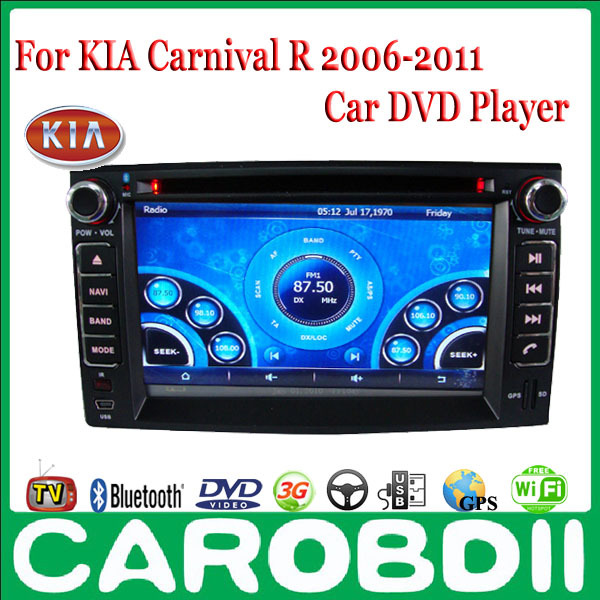 KIA Carnival R Android Car DVD GPS Radio Player 2006 2007 2008 2009 2010  2011 With TV/3G/GPS/Wifi Russian menu Free Shipping-in Car Multimedia  Player