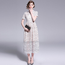 Summer New European and American Fashion Lace Dress Round Neck Hook Flower Hollow Out Long