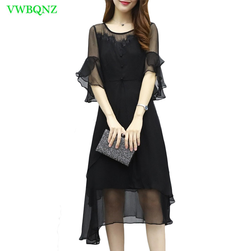 Nouveau femmes robe en mousseline de soie été nouveau Slim manches longues corne robes femmes taille haute noir cinq manches volants robes Tide A509
