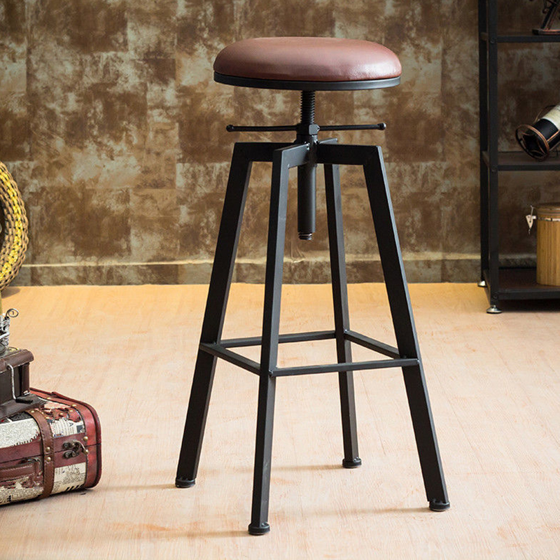 Iron Bar Chair Industrial Wind Rotating Bar Stool Home Lifting Solid Wood High Chair High Stool