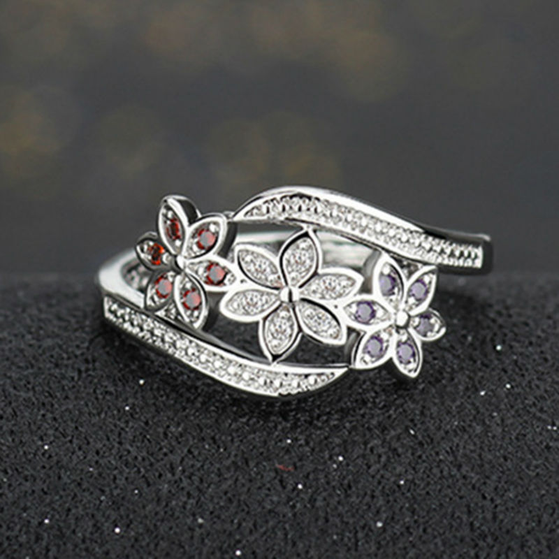 Chic Women Silver Plated Crystal Zircon Ring Size 7-9 Lady Flower Charm Finger Jewelry Valentines Day Gift AAA Drop Ship