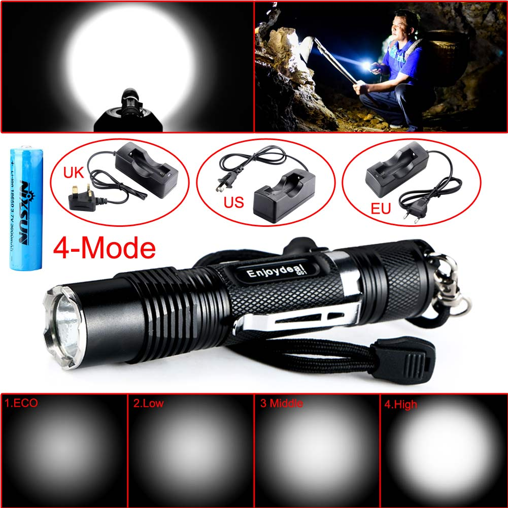 Outdoor 800 Lumens Cree XML-L2 LED Pocket Dimmable Flashlight Torch 4Modes+18650 Battery+EU plug/US plug/UK plug high lumen led flashlight 4 2v cree xml t6 2 18650 battery 5 modes focalize flash lamp 2 18650 batteries battery charger