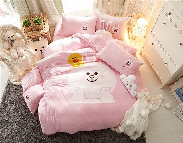Dekbedovertrek Licht Roze : Cartoon konijn fleece stof luxe beddengoed set roze bed set twin