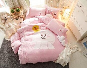Cartoon rabbit Fleece fabric Luxury Bedding Set pink Bed Set Twin Queen winter warm Bed Linens Duvet Cover Bed Sheet