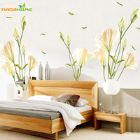 New Arrival 140 120 High Quality Lily Flower Wall Stickers Romatic TV Brackground Removable Vinyl Stickers