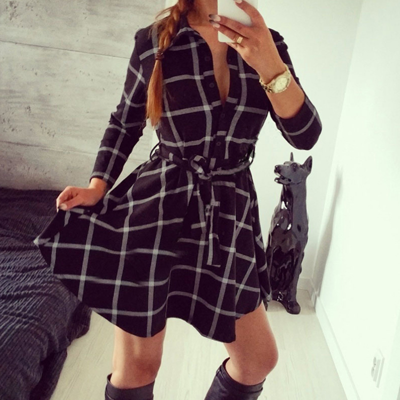 6acf095d501d Sexy Women Tartan Plaid Checkered Belted Button Down Shirt Dress Autumn  Fall 3 4 Sleeve Outfit Outwear Skater Tunic Dresses-in Dresses from Women s  Clothing ...
