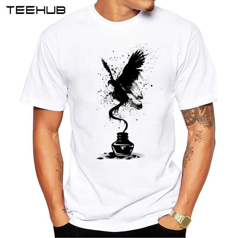 2019 TEEHUB Men's Fashion Ink Eagle Printed T-Shirt Short Sleeve Novelty Design Tops Cool Tee