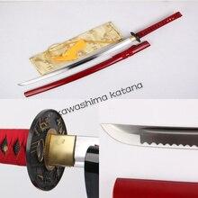 Handmade Carbon Steel Clay Tempered Red Samurai Sword Katana Sharp Edge