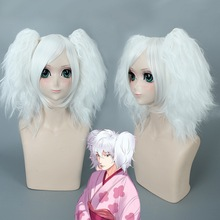 GINTAMA Sakata Gintoki White Cosplay Wig Synthetic Hair Short Curly Halloween Costume Party Wigs With Double Ponytails 40cm one piece perona halloween wavy hair cosplay party wig curly wig six ponytails