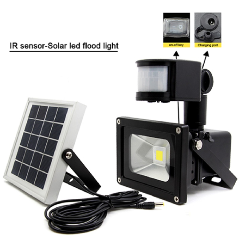 2W Solar Power Panel 1*10W COB LED Flood Light IP65 Motion Sensor Outdoor Garden Yard Street Path Landscape IR Emergency light