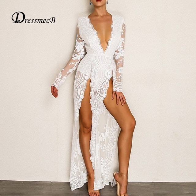 ae8ef44cfbd7c US $28.35 35% OFF|DRESSMECB New Lace Jumpsuit Women Sexy Long Split  Bodysuit Sequin Summer Deep V Neck Long Sleeve Solid Overalls Rompers-in  Jumpsuits ...