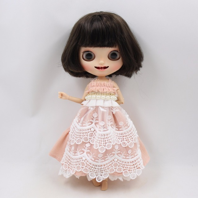 ICY Neo Blythe Doll Pink Dress With Pearls & Headband