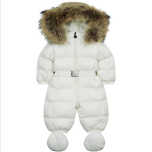Детские snowsuit новый зима детские мальчики девочки снег носить натуральной меховой воротник белая утка вниз проложенный тепловые новорожденных комбинезоны