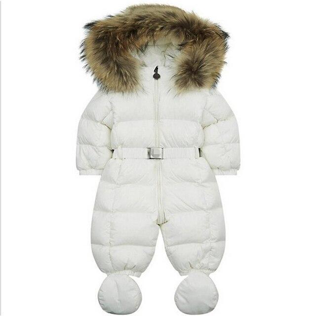 Baby snowsuit new winter infant boys girls snow wear genuine fur collar white duck down padded thermal newborn jumpsuits