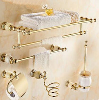 Luxury solid brass and jade gold finish Bathroom Accessories Set,Robe hook,Paper Holder,Towel Bar,Soap basket
