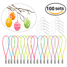 100pcs Easter Egg Accessories Iron Wires With Hanging Strings For Easter Decoration Jewelry Party Accessory Trinket Gift