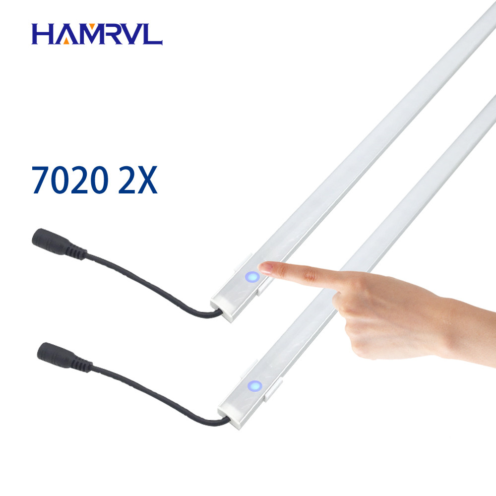 2pcs dimmable under cabinet strip lighting7020 7030 9W 50cm touch switch control Kitchen led  b DC12V rigid Strip-in LED Bar Lights from Lights & Lighting