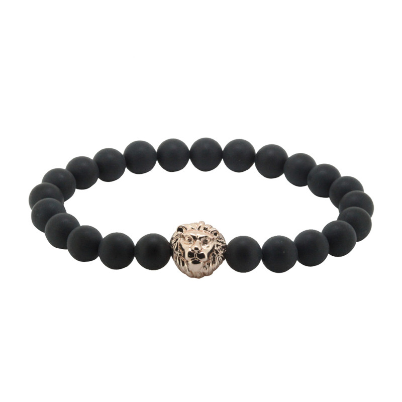 Natural Matte Stone Stone Beads with 24k Gold color Lion head Charm Bracelets for Men ,2016 New Style High Quality Fishion