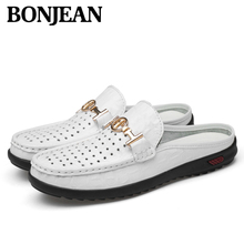 High Top Quality Mesh Leather Men Shoes Summer Soft Breathable Loafers Lazy Shoes Flats Slip-on Outdoor Lazy Men Casual Shoes стоимость