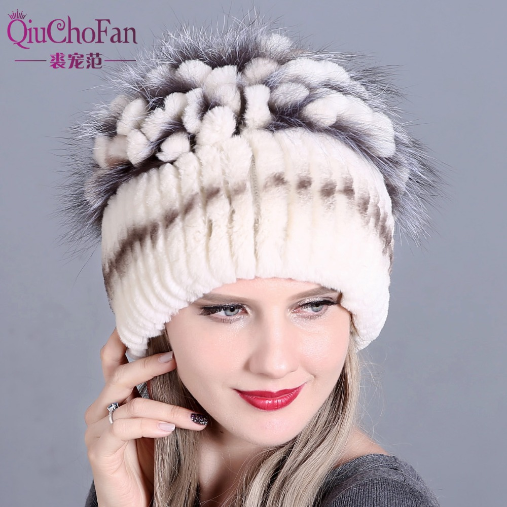 Winter Fur Hat for Women Real Rex Rabbit Fur Hats with Silver Fox Fur Flower Knitted