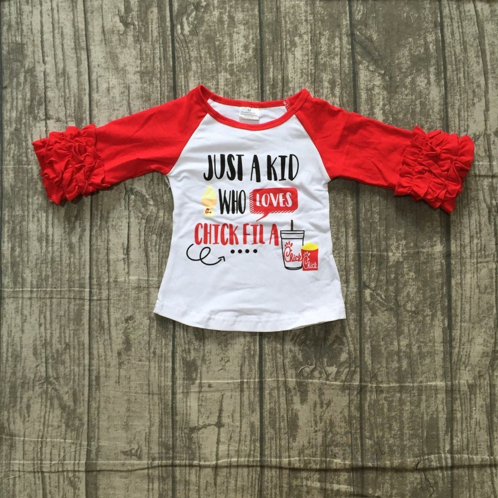 Otoño/Invierno camiseta roja sólo un niño que ama chilck fila top ruffle mangas camisa raglans camiseta algodón ropa de las muchachas