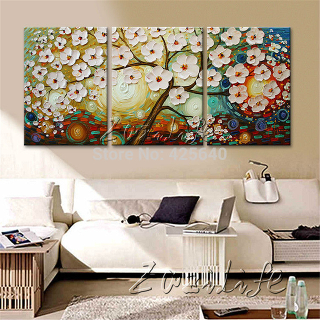 Buy oil painting 3 panel 3 piece canvas for House decoration pieces
