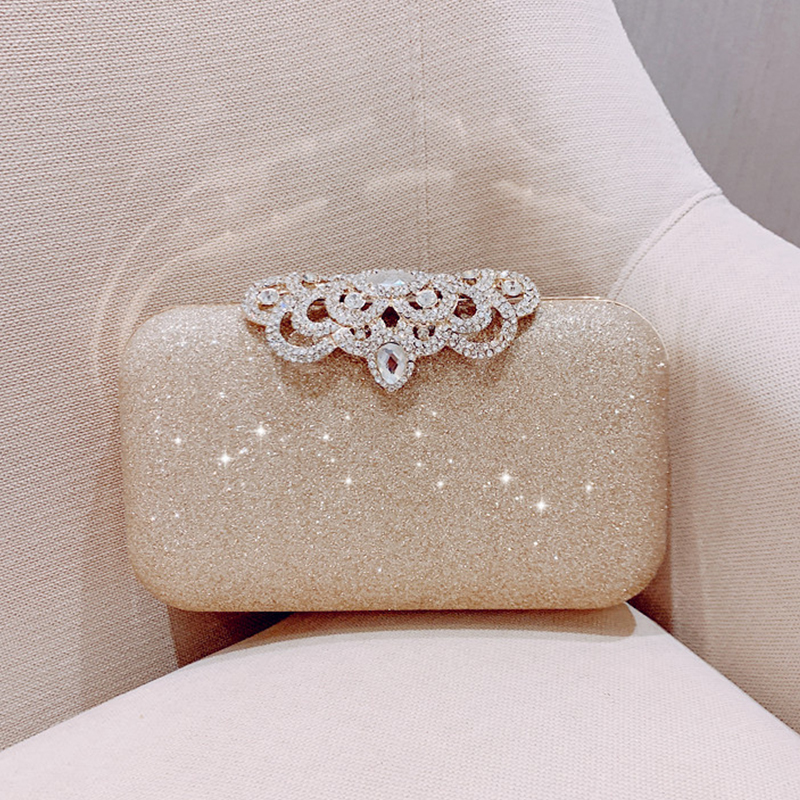 Meloke New Fashion Sequined Scrub Clutch Women's Evening Bags Bling Day Clutches Gold Wedding Purse Female Handbag MN2019