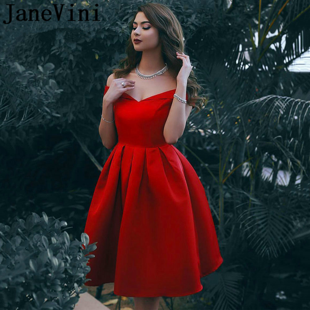 JaneVini Vintage Red Robes   Cocktail     Dresses     Cocktail   Short Satin A Line Girls Plus Size Knee Length Vestido Formal Corto 2019