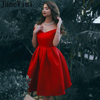 JaneVini Vintage Red Robes Cocktail Dresses Cocktail Short Satin A Line Girls Plus Size Knee Length Vestido Formal Corto 2019