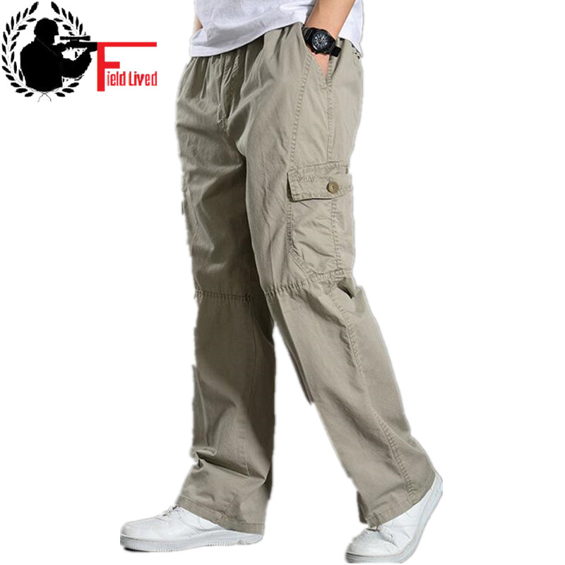 Summer Cotton Men Cargo Pants Mens Joggers Baggy Tactical Pants Lightweight Army Green Work Pant Loose Casual Trousers Plus Size