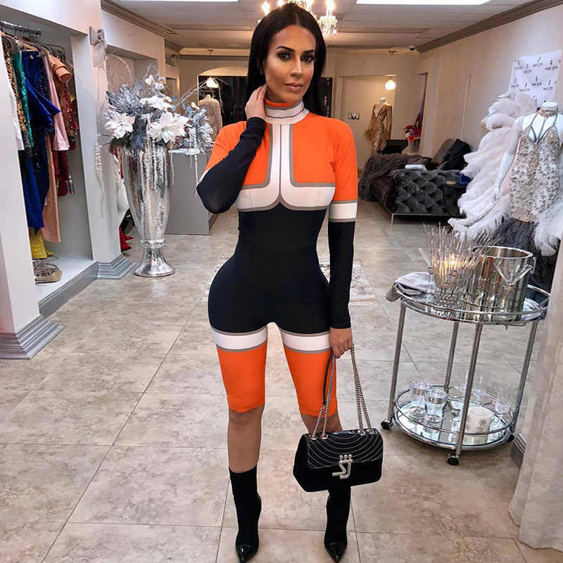 01b5dd472d58 Sexy 2018 ROMPERS WOMENS JUMPSUIT Shorts Color Block Playsuit Hippie Overalls  Female Culotte combishort femme Tight