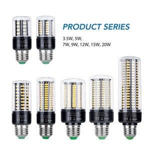 Image 2 - E27 LED Bulb E14 Corn Lamp 110V LED Lamp 220V Lampada LED 85 265V 28 40 72 108 132 156 189leds Energy Saving Light Bulb 5736 SMD