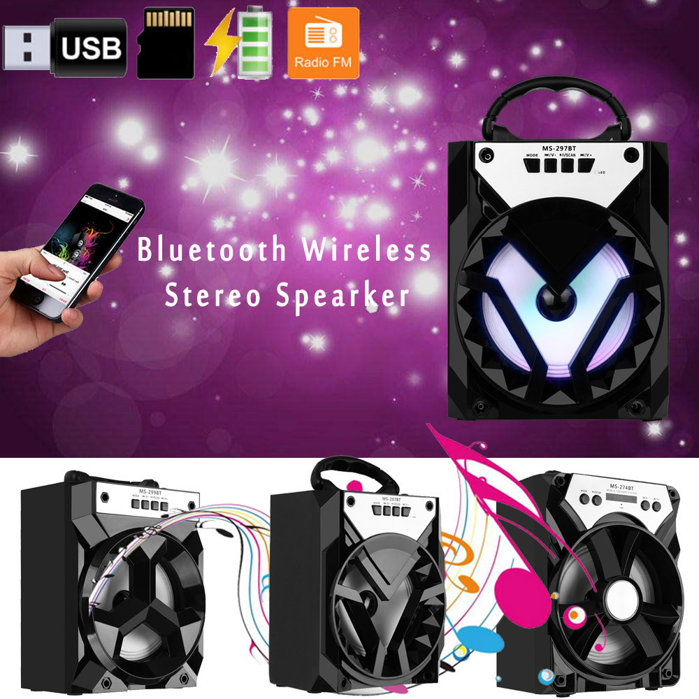Outdoor Portable Wireless Bluetooth Speaker Stereo Super Bass w/ USB/TF/FM Radio With Changing Lights R0409Outdoor Portable Wireless Bluetooth Speaker Stereo Super Bass w/ USB/TF/FM Radio With Changing Lights R0409