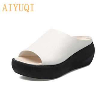 AIYUQI Platform slippers women 2020 new sandals genuine leather casual outdoor retro