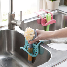 Sink Shelf Soap Sponge Drain Rack Kitchen Storage Adjustable Snap Hanging Dish Organizer Tool