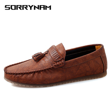 Casual Leather Loafer Shoes Men Soft Comfortable Driving Moccasins Footwear Mokasin Kasual For Schoenen Sorrynam