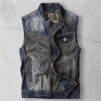 Men Denim Vest Spring Autumn Fashion Cool Cowboy Sleeveless Male Waistcoat Short Style Vintage Spliced Denim