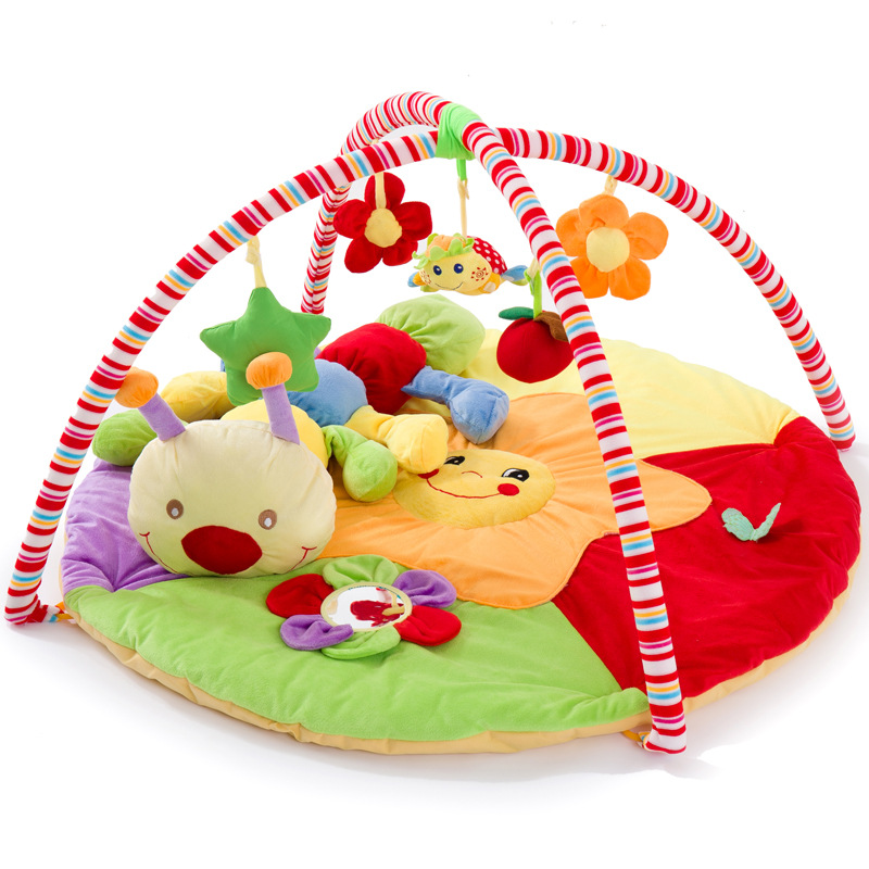 Soft Baby Play Mats Toddler Gym Blanket Indoor Outdoor Portable Crawling Mat With Caterpillar Toy