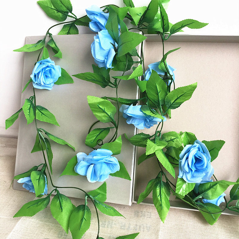 250CM/lot Silk Roses Artificial Flowers With Green Leaves For Home Wedding Decoration 21