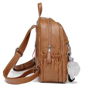 Image 3 - Chuwanglinファッション本革mochila feminina学校のバックパックシンプルなバックパック旅行バッグB5180